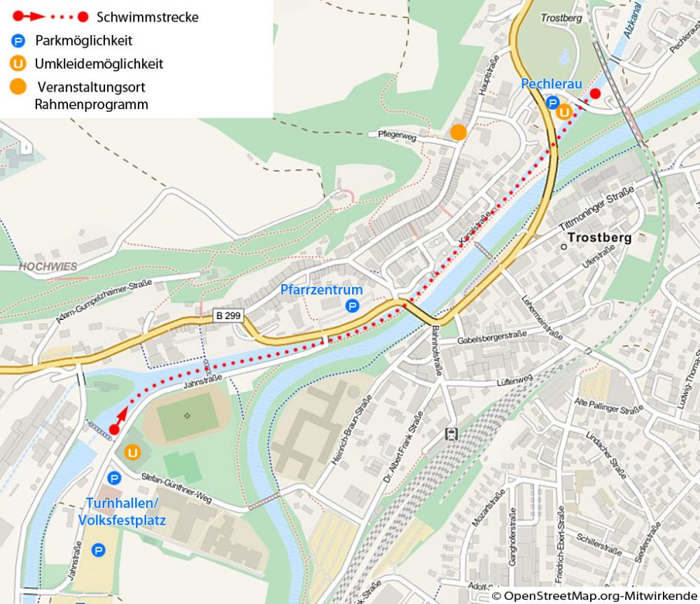 Streckenverlauf Nikolaus-Fackelschwimmen 2015