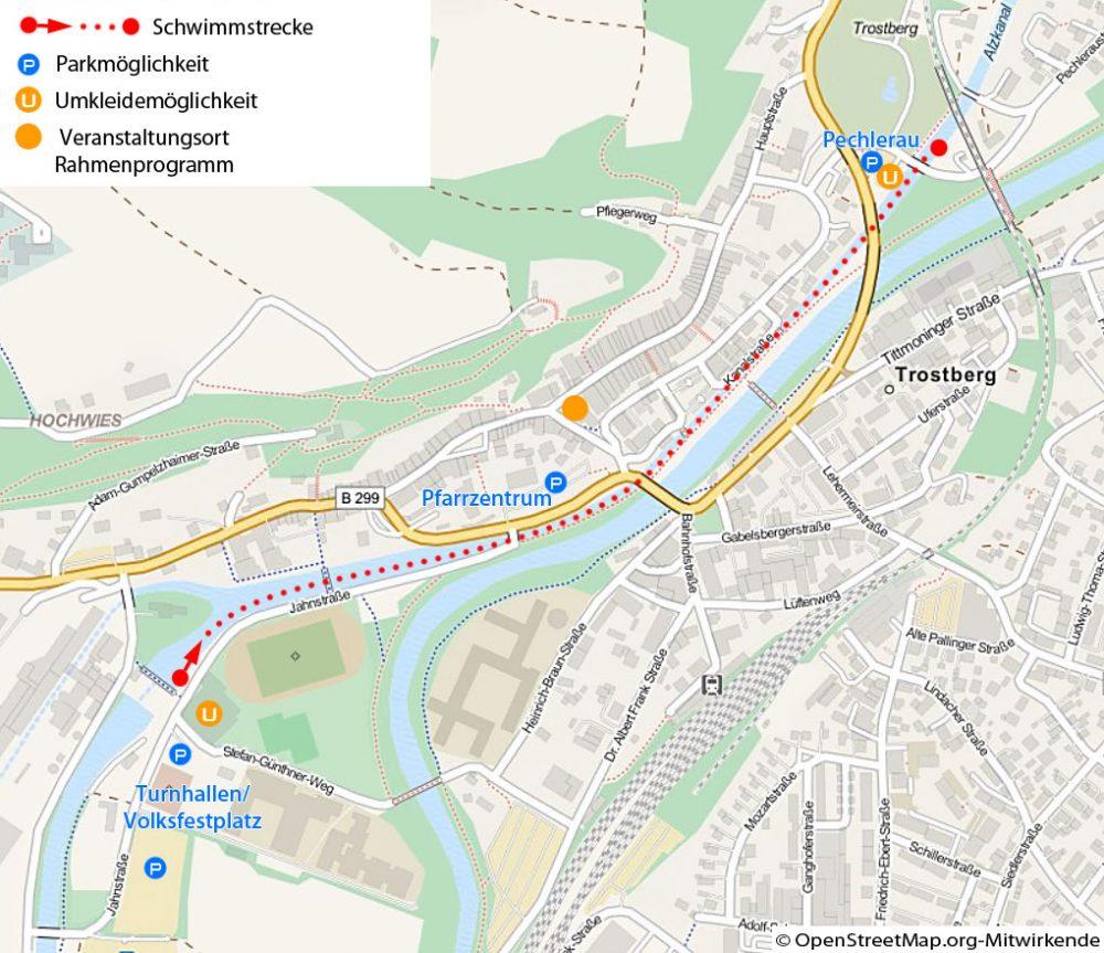 Streckenverlauf Nikolaus-Fackelschwimmen 2014